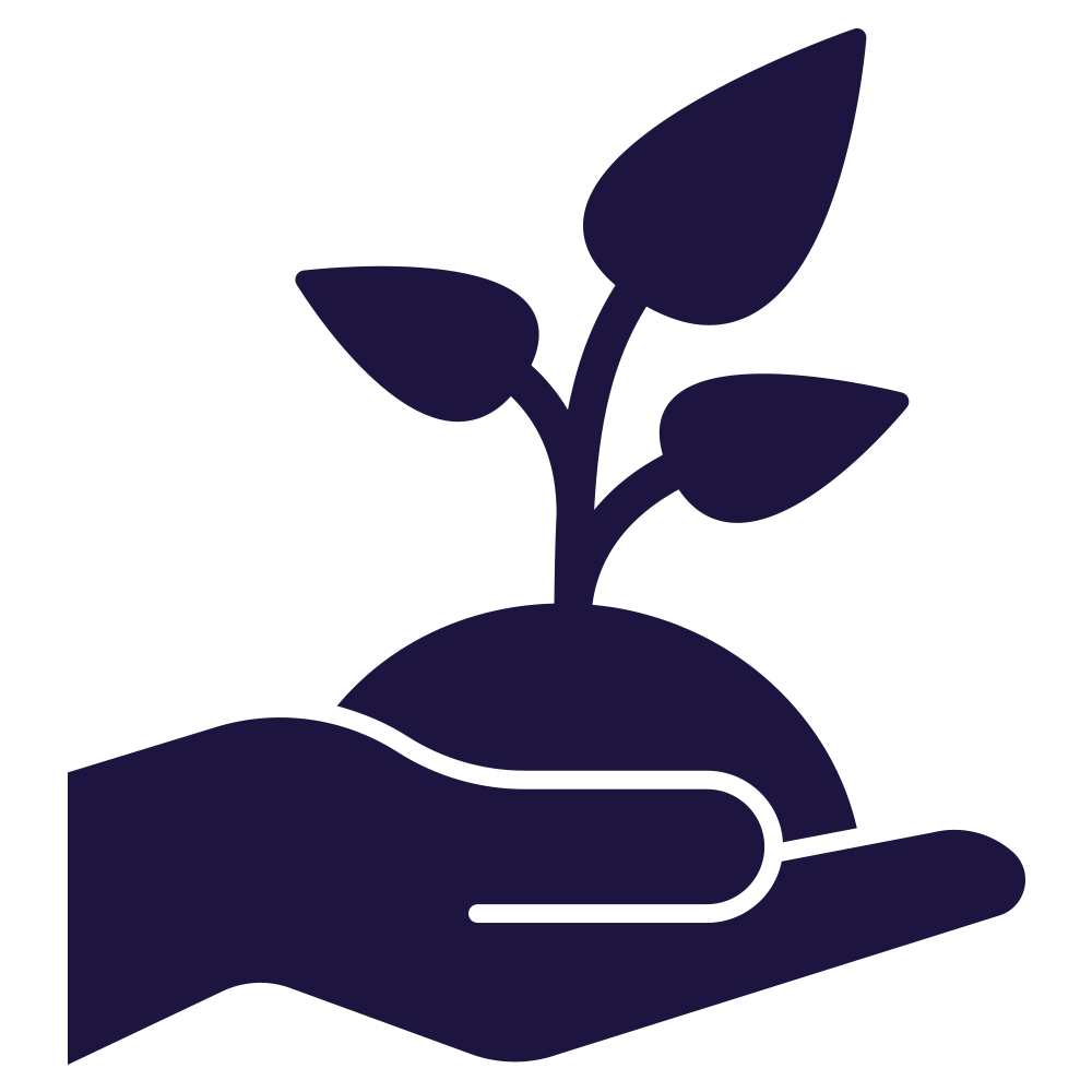 Icon of a plant in a hand